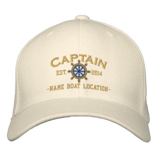 Personalized YEAR and Names Captain Wheel Embroidered Baseball Cap