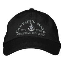 Personalized YEAR and Names Captain's Mate Silver Embroidered Baseball Cap