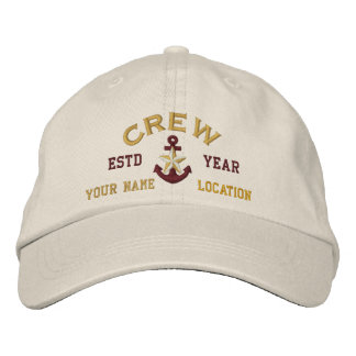 Personalized YEAR and Names Crew Gold Star Anchor Embroidered Hat