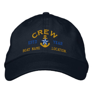 Personalized YEAR and Names Crew Star Anchor Embroidered Baseball Hat