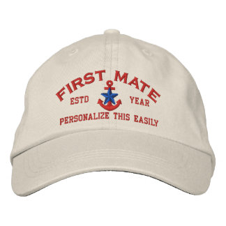 Personalized YEAR and Names First Mate Blue Star Embroidered Baseball Cap