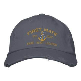 Personalized YEAR and Names First Mate Gold Anchor Embroidered Baseball Cap
