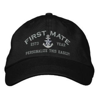 Personalized YEAR and Names First Mate Silver Star Embroidered Baseball Cap