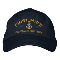 Personalized YEAR and Names First Mate Star Anchor Embroidered Baseball Hat