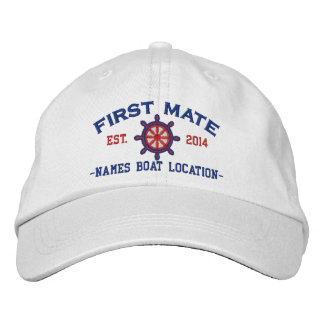 Personalized YEAR and Names First Mate Wheel Embroidered Baseball Cap