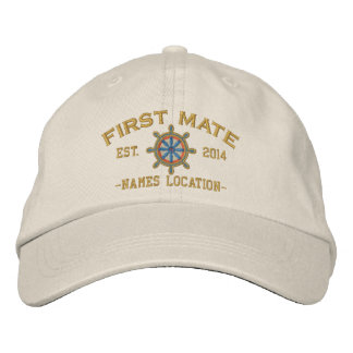 Personalized YEAR and Names First Mate Wheel Embroidered Baseball Hat