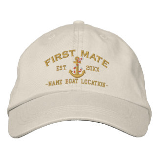 Personalized YEAR and Names for First Mate Anchor Embroidered Baseball Cap