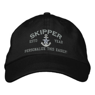 Personalized YEAR and Names Skipper Silver Star Embroidered Baseball Cap