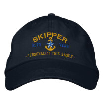 Personalized YEAR and Names Skipper Star Anchor Embroidered Baseball Hat