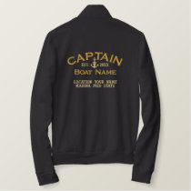 Personalized YEAR and Navy Captain Star Anchor Embroidered Jacket