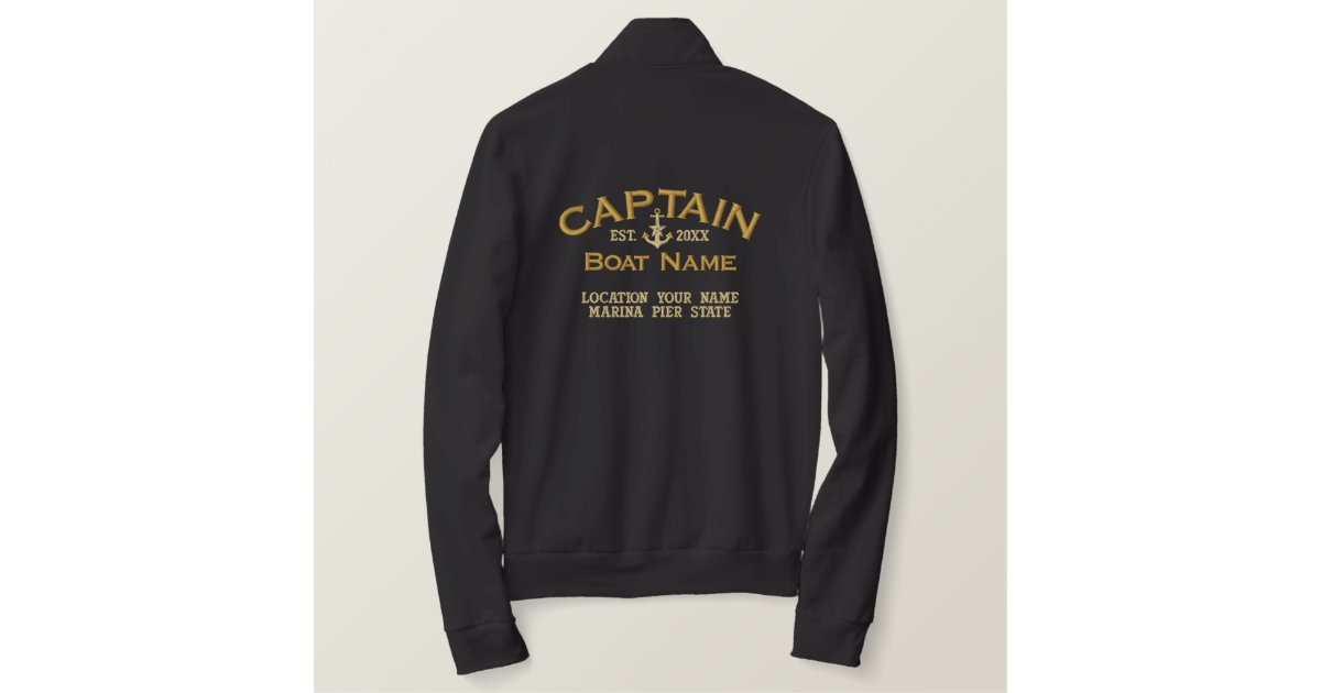5268385d0 Personalized YEAR and Navy Captain Star Anchor Embroidered Jacket |  Zazzle.com