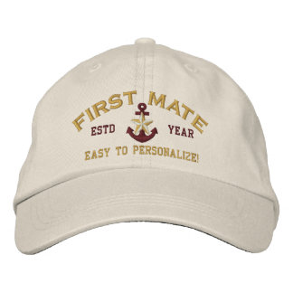Personalized YEAR Name First Mate Gold Star Anchor Cap