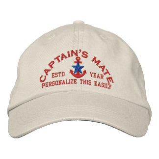 Personalized YEAR Names Captain's Mate Blue Star Baseball Cap