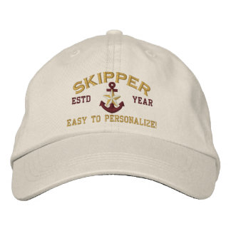 Personalized YEAR Names Skipper Gold Star Anchor Cap