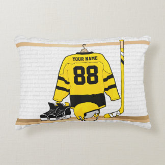 Personalized Yellow and Black Ice Hockey Jersey Decorative Pillow