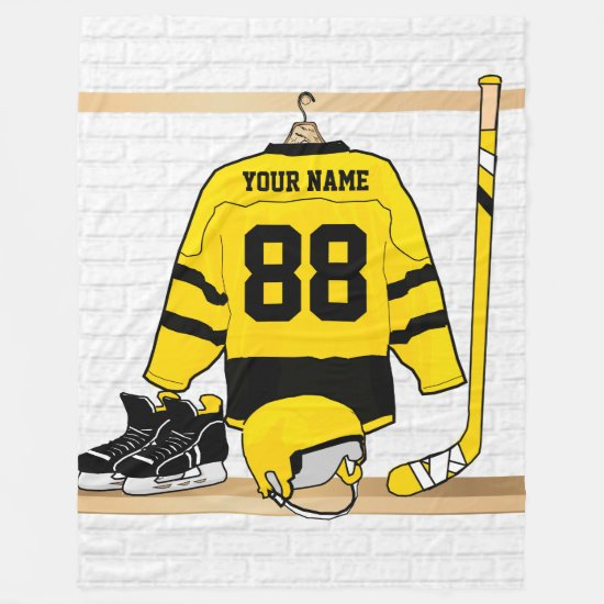 Personalized Yellow and Black Ice Hockey Jersey Fleece Blanket