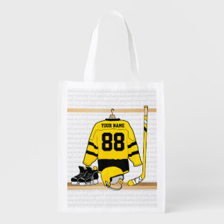 Personalized Yellow and Black Ice Hockey Jersey Market Tote