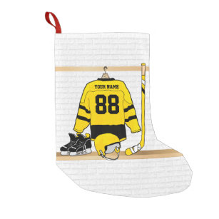 86c51f54a Personalized Yellow and Black Ice Hockey Jersey Small Christmas Stocking