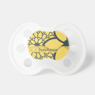 Personalized Yellow and Charcoal Modern Floral Baby Pacifier