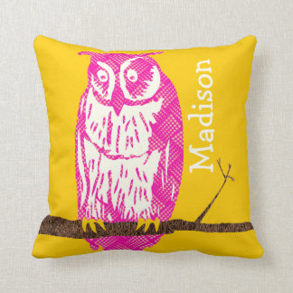 Personalized Yellow and Pink Baby Girl Vintage Owl Pillows