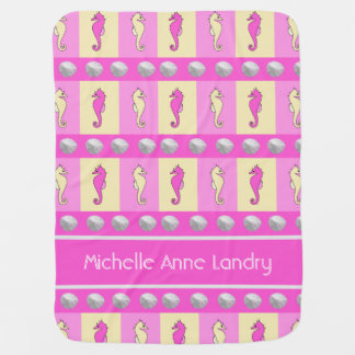 Personalized Yellow and Pink Seahorses Swaddle Blankets