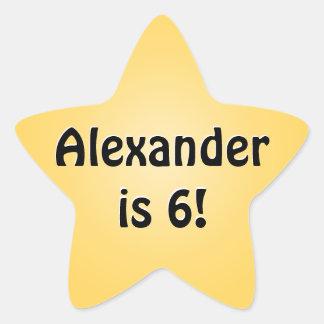 Personalized Yellow Birthday Favor Star Star Sticker