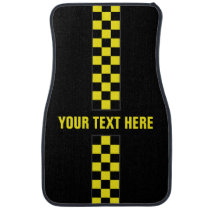 Personalized Yellow Checkered Stripe Car Mats
