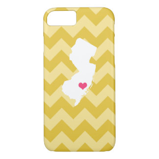 Personalized Yellow Chevron New Jersey Heart iPhone 7 Case