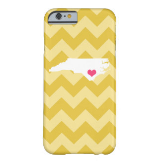Personalized Yellow Chevron North Carolina Heart Barely There iPhone 6 Case