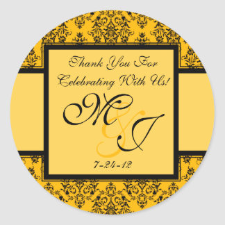 Personalized Yellow Damask Wedding Favor Labels