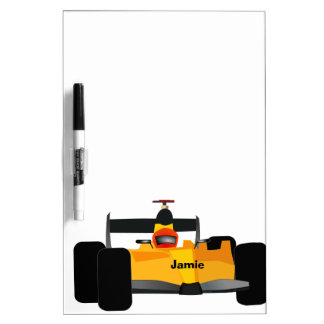 Personalized Yellow Dragster Race Car Dry-Erase Board