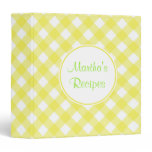 Personalized Yellow Gingham Recipe Binder