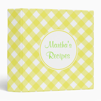 Personalized Yellow Gingham Recipe Binder