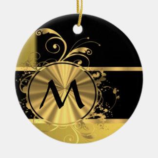Personalized yellow gold and black monogram ceramic ornament
