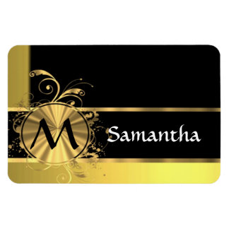 Personalized yellow gold and black monogram magnet