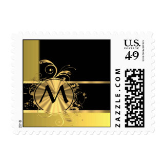 Personalized yellow gold and black monogram postage