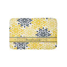 Personalized Yellow, Gray Charcoal Modern Floral Bath Mat at Zazzle