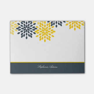Personalized Yellow, Gray Charcoal Modern Floral Post-it Notes