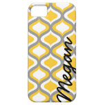 Personalized Yellow Gray Ogee Pattern iPhone 5 Cover