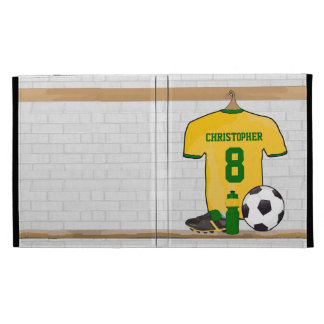 Personalized Yellow Green Football Soccer Jersey iPad Case