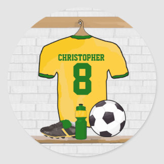 Personalized Yellow Green Football Soccer Jersey Classic Round Sticker