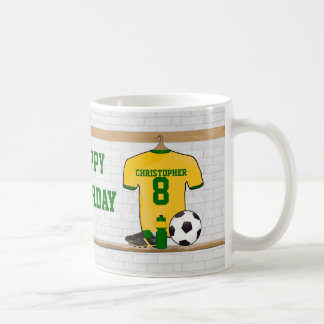 Personalized Yellow Green Football Soccer Jersey Coffee Mug