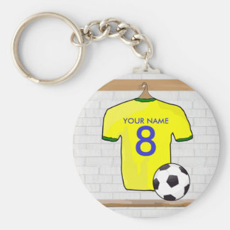 Personalized Yellow Green Football Soccer Jersey Keychain