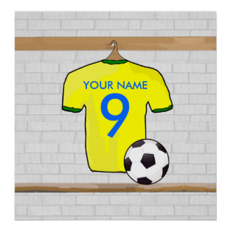 Personalized Yellow Green Football Soccer Jersey Poster