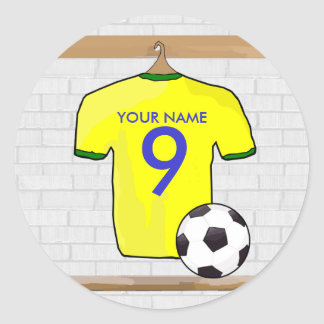 Personalized Yellow Green Football Soccer Jersey Round Sticker