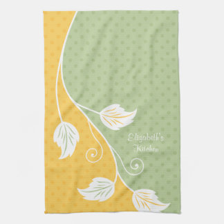 Personalized Yellow Green Polka Dot Floral Vine Kitchen Towels