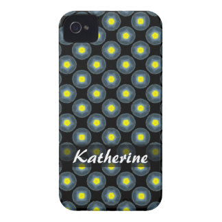 Personalized yellow grey circle pattern on black iPhone 4 cover