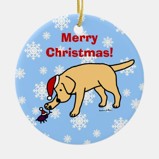 Personalized Yellow Lab Christmas Santa Hat Ceramic Ornament