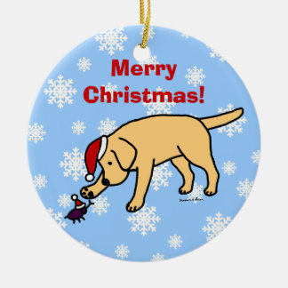 Personalized Yellow Lab Christmas Santa Hat Double-Sided Ceramic Round Christmas Ornament