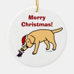 Personalized Yellow Lab Christmas Santa Hat Christmas Ornaments
